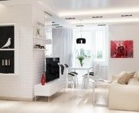Дизайн интерьера квартиры на основе белого цвета, 2 проекта