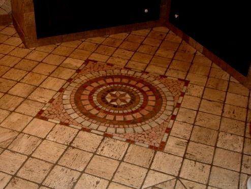 Mosaic floor tile installation