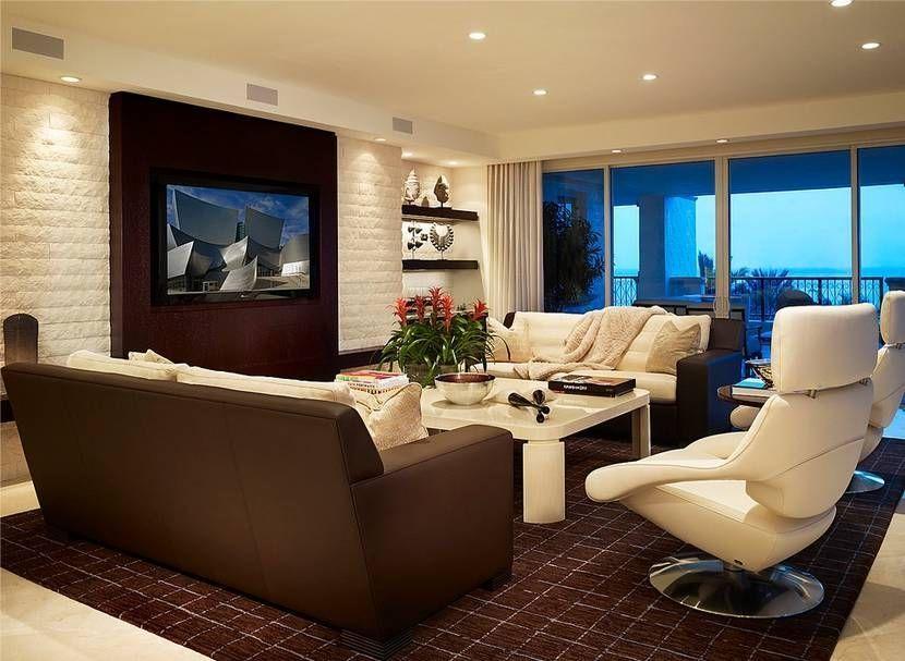 Дизайн стены с телевизором в гостиной из гипсокартона фото