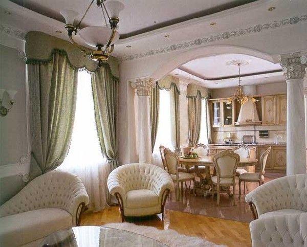 классический интерьер кухня и гостиная