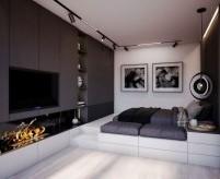 Гостиная и спальня, совмещённые в одной комнате - примеры зонирования и дизайна