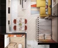 3 проекта дизайна квартир студий до 30 м2 - фото, описания, планировка