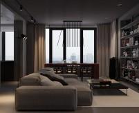 Трёхкомнатная квартира 137 м2 в тёмных тонах, стеклянная стена между спальней и гостиной