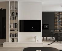 Современная трехкомнатная квартира, чёрно-белый интерьер