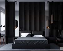 Примеры использования чёрного цвета в интерьере спальни - сочетания, стили, освещение, 50 фото
