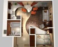 Примеры планировки маленьких однокомнатных квартир: 3d-планы